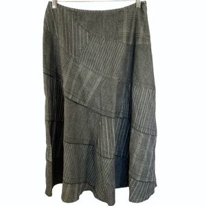 Sandro Grey Jean Maxi Quilted Flair Skirt